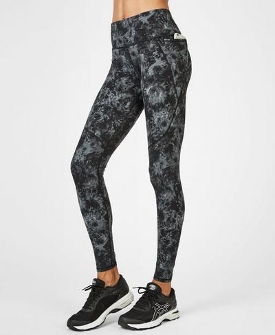 Power Workout Leggings, Monotone Pixelated Floral | Sweaty Betty