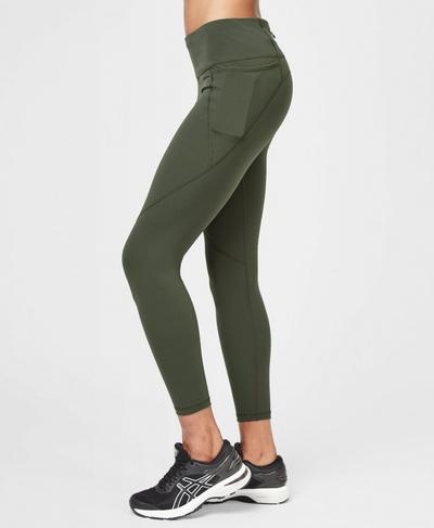 Power 7/8 Gym Leggings, Olive | Sweaty Betty