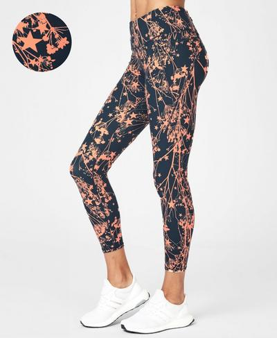 Power 7/8 Workout Leggings, Beetle Blue Meadow Star Print | Sweaty Betty