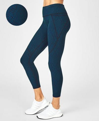 Power 7/8 Workout Leggings, Beetle Blue Interlinked Geo Print | Sweaty Betty