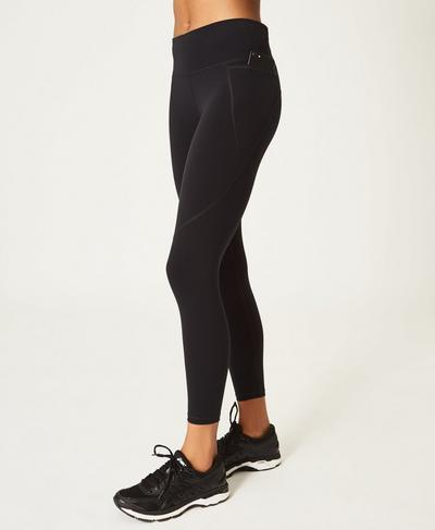 Power 7/8 Side Pocket Leggings, Black | Sweaty Betty