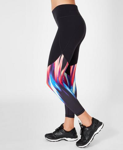 Power 7/8 Leggings, Black Strobe Placement Print | Sweaty Betty