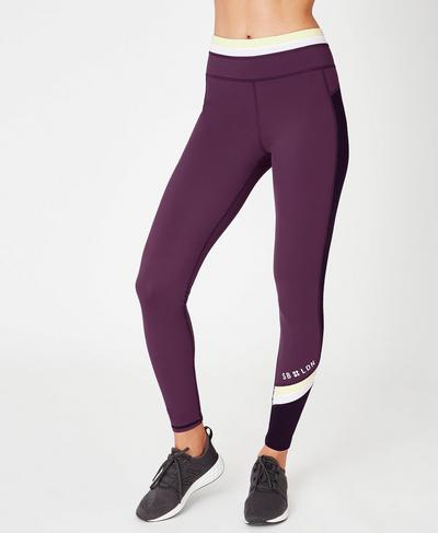 Zero Gravity High Waisted Running Leggings, Aubergine Colour Block | Sweaty Betty