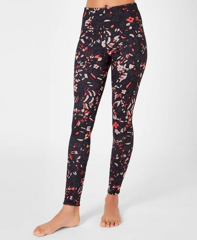 Reversible High-Waisted Yoga Leggings, Aubergine Geo Floral | Sweaty Betty