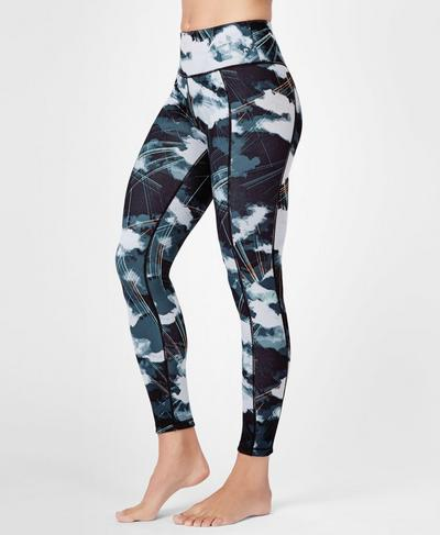 Reversible Yoga Leggings, Black Cloud Print | Sweaty Betty