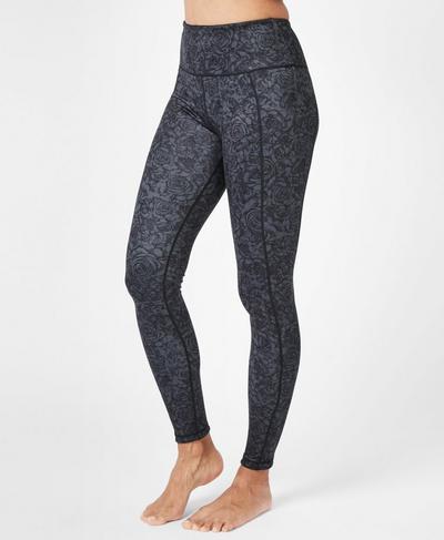 28089064b20907 Reversible High Waisted Yoga Leggings, Black Rebel Roses Print | Sweaty  Betty