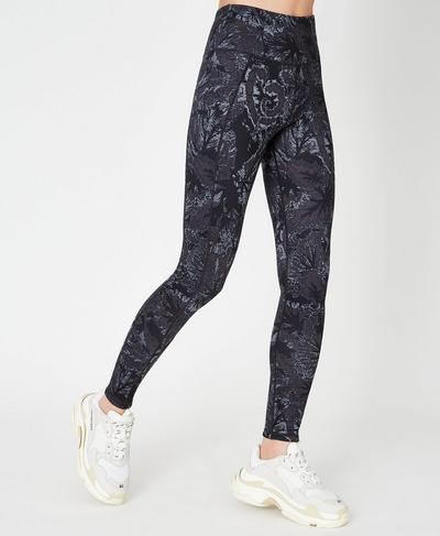 Reversible High Waisted Yoga Leggings, Tonal Begonia Print | Sweaty Betty
