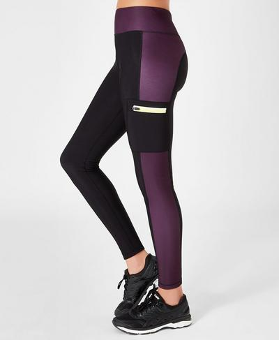 Thermodynamic Running Leggings, Black Colour Block | Sweaty Betty