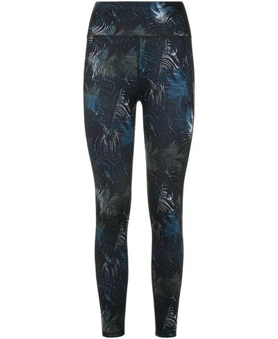 Reversible 7/8 Yoga Leggings, Beetle Blue Feather Print | Sweaty Betty