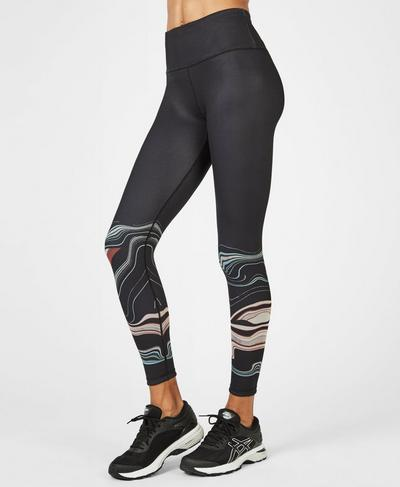 Reversible High Waisted 7/8 Yoga Leggings, Still Water Wave Print | Sweaty Betty