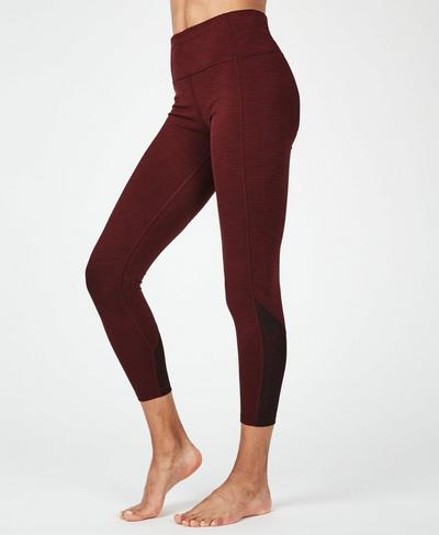Super Sculpt Mesh 7/8 Yoga Leggings, Black Cherry | Sweaty Betty