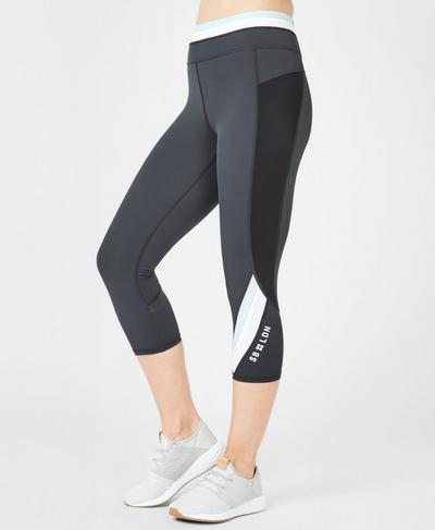 Zero Gravity High Waisted Cropped Running Leggings, Slate Colour Block | Sweaty Betty