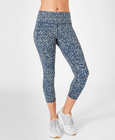 Power Cropped Workout Leggings, Beetle Blue Hexagon Print | Sweaty Betty
