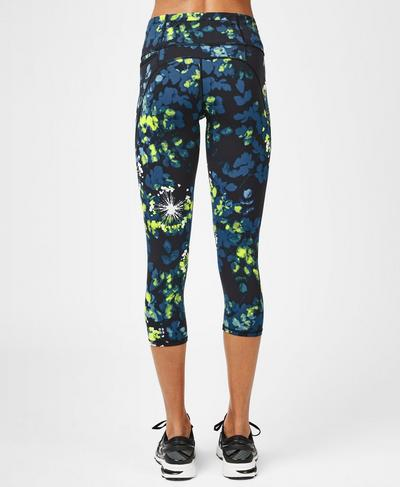 Power Cropped Workout Leggings, Lime Punch Green Floral Print | Sweaty Betty