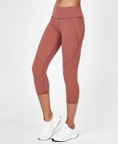 Power Cropped Workout Leggings, RUST | Sweaty Betty