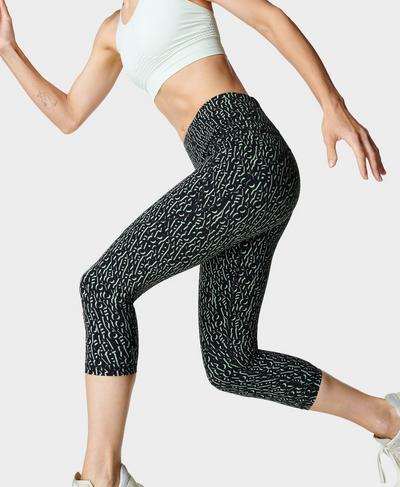 Power Cropped Workout Leggings , Black Monogram Print | Sweaty Betty