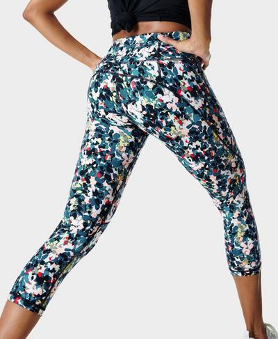 Power Crop Workout Leggings , Blue Floral Splash Print | Sweaty Betty