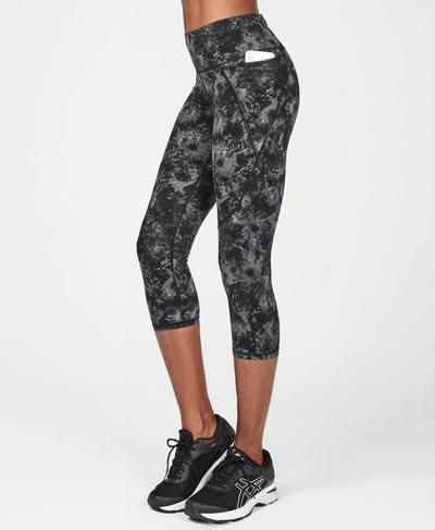 Power Cropped Workout Leggings, Monotone Pixelated Floral | Sweaty Betty