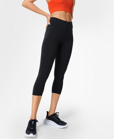 Power Crop Side Pocket Leggings, Black | Sweaty Betty