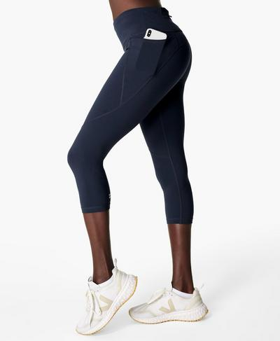 Power Cropped Workout Leggings, Navy Blue | Sweaty Betty