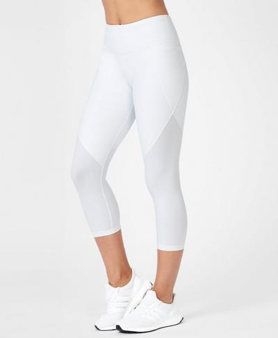 Power Cropped Workout Leggings, White | Sweaty Betty