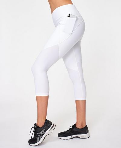 Power Cropped Workout Leggings, White A | Sweaty Betty