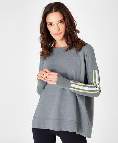 Simhasana Slogan Sweatshirt, Charcoal Marl | Sweaty Betty