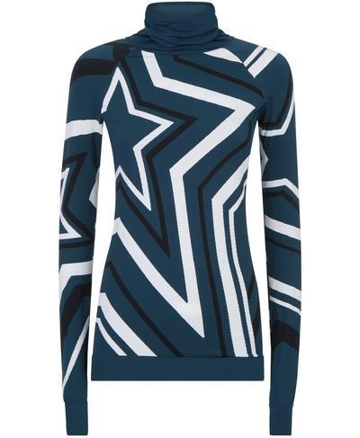 Festive Star Seamless Long Sleeve Base Layer Top, Beetle Blue Star Jacquard | Sweaty Betty