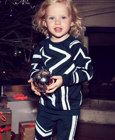 Festive Star Seamless Baby Long Sleeve Base Layer, Beetle Blue Star Jacquard | Sweaty Betty