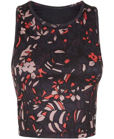 Paradise Reversible Crop Yoga Vest, Poppy Red Geo Floral | Sweaty Betty