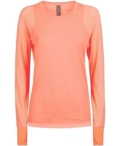 Breeze Long Sleeve Running Top, Fluro Flash Pink | Sweaty Betty