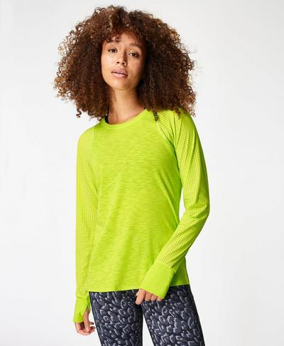 Breeze Long Sleeve Running Top, Lime Punch Green | Sweaty Betty