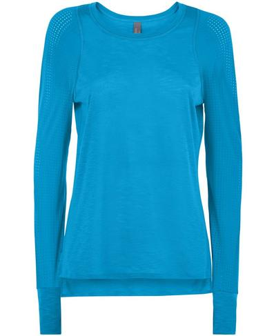 Breeze Long Sleeve Running Top, Mosaic Blue | Sweaty Betty