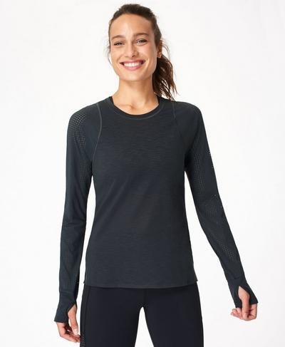 Breeze Long Sleeve Running Top, Slate Grey | Sweaty Betty