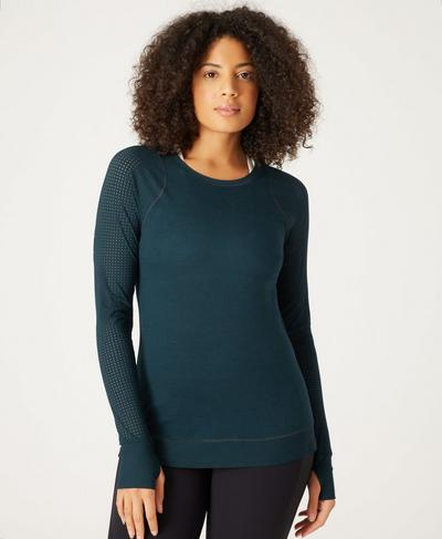 Breeze Merino Long Sleeve Run Top, Stargazer | Sweaty Betty