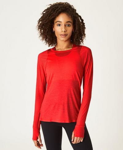 Breeze Merino Long Sleeve Running Top, Tulip Red | Sweaty Betty