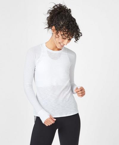 Breeze Long Sleeve Running Top, White | Sweaty Betty