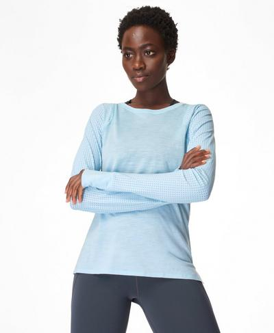 Breeze Merino Long Sleeve Running Top, Air Blue | Sweaty Betty