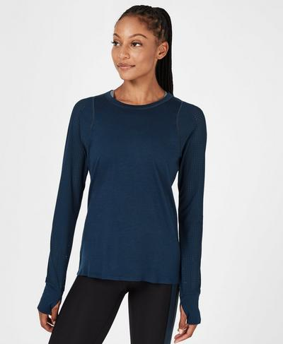 Breeze Merino Langarm-Laufshirt, Beetle Blue   Sweaty Betty