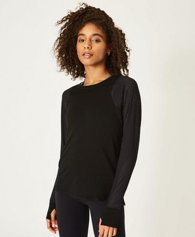 Breeze Merino Long Sleeve Running Top, Black | Sweaty Betty