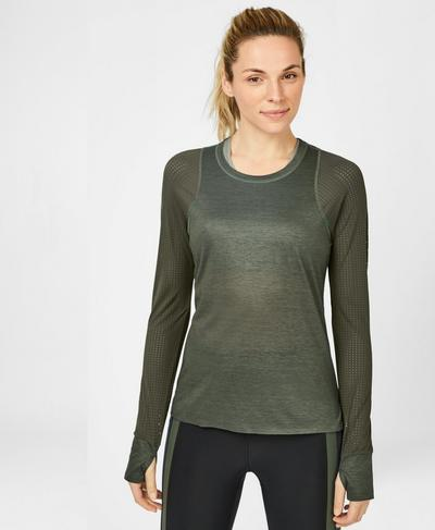 Breeze Merino Long Sleeve Running Top, Dark Forest Green | Sweaty Betty