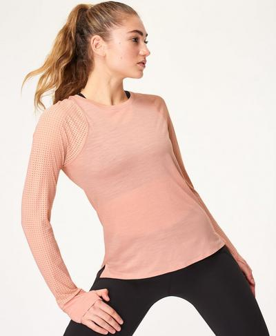 Breeze Merino Long Sleeve Running Top, Misty Rose Pink | Sweaty Betty