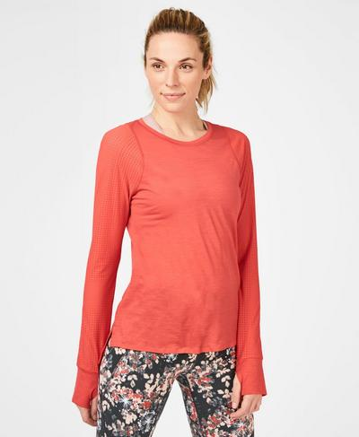 Breeze Merino Long Sleeve Running Top, Tulip Red A | Sweaty Betty