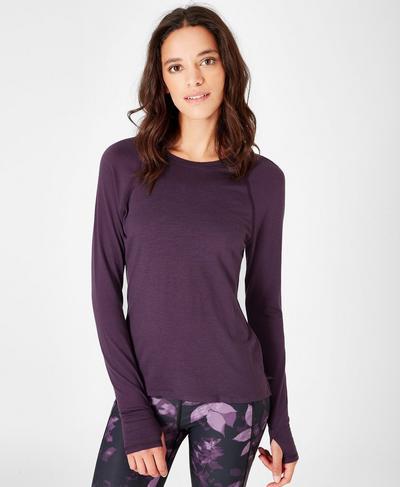 Breeze Solid Merino Long Sleeve Run Top, Aubergine | Sweaty Betty