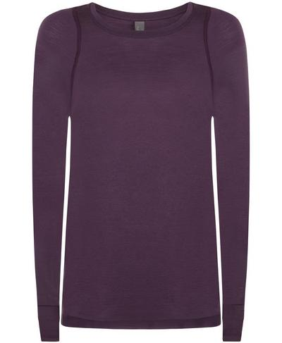Breeze Solid Merino Long Sleeve Run Top, Aubergine | Sweaty Betty