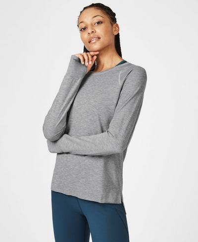 Breeze Light Long Sleeve Running Top, Light Grey Marl | Sweaty Betty