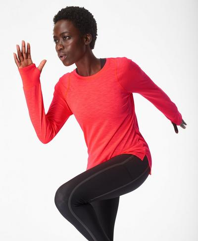 Breeze Light Long Sleeve Running Top, Lipstick Red | Sweaty Betty