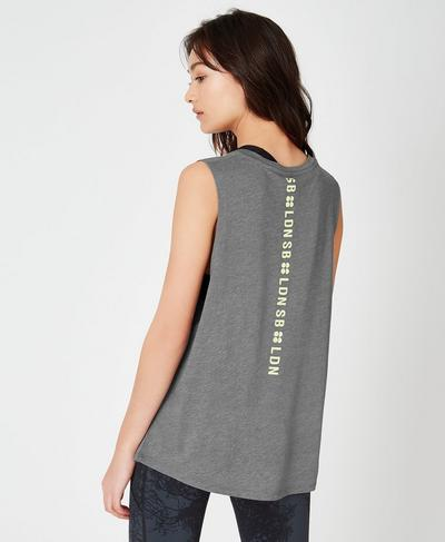 Flow Workout Tank, Charcoal Marl | Sweaty Betty