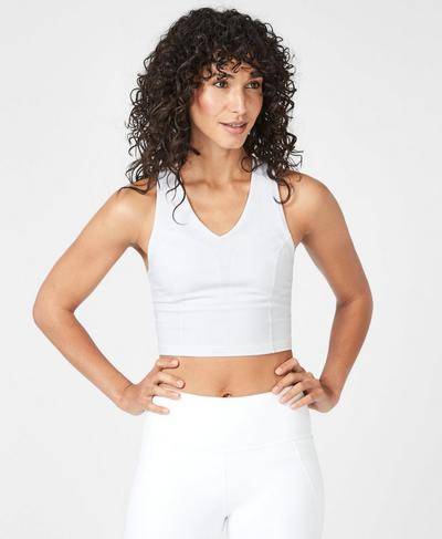 Meadow Power Strappy Crop Top, White | Sweaty Betty