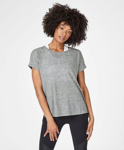 Ab Crunch Workout T-Shirt, Charcoal Marl | Sweaty Betty